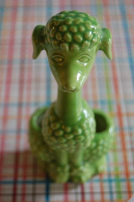 Vintage Green Ceramic Poodle