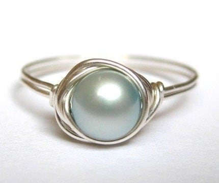 FIGURE MAGAZINE FEATURE Powder Blue freshwater pearl sterling silver wire wrapped ring