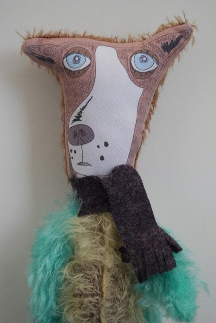 Fuzzy Weirdo puppy Dog Mohair Outsider Folk art Plush