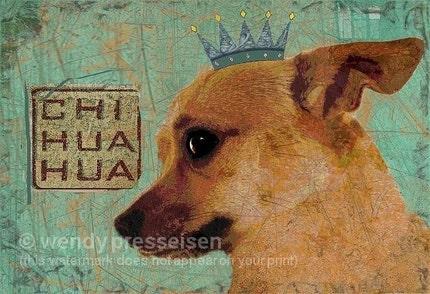 CHIHUAHUA DOG Art Print MODERN GRUNGE ART POSTER Signed CUTE PUPPY Minpin Chihuahua