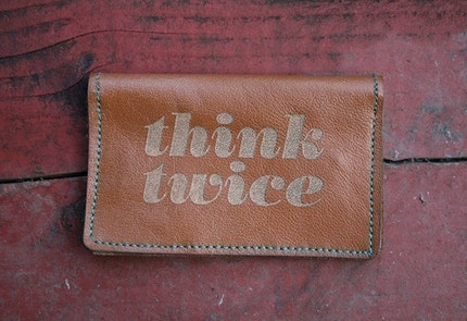 Think Twice leather billfold wallet