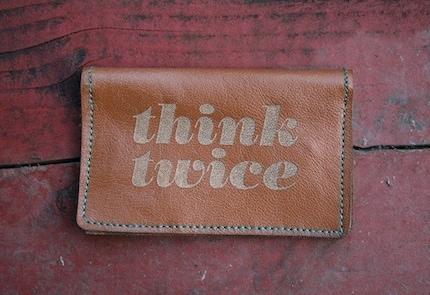 Think Twice leather billfold wallet