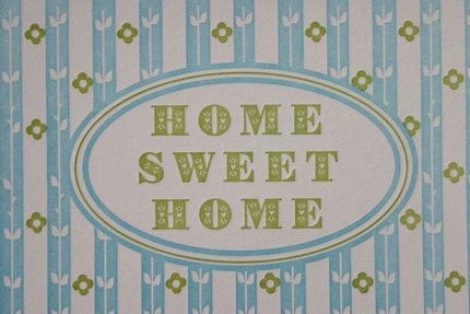 home sweet home (light blue and green) greeting card