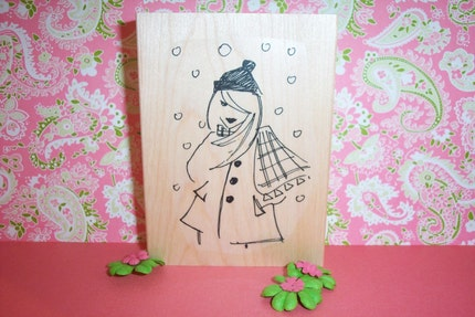 Rubber Romance UNMOUNTED Stamp - Sherri in the Snow