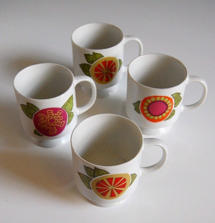 Vintage Japanese Lemon and Floral Stacking Mug Set