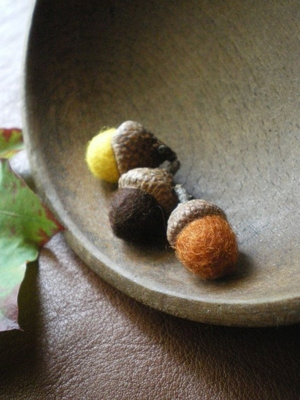 felted wool acorns - set of 3 - brown, yellow, and orange