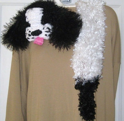SALE-DESIGNER-READY NOW-DOG SCARF-MOLLY by Fiber Artist GERRY-one of a kind-Wearable Art-FREE scarf pin with purchase