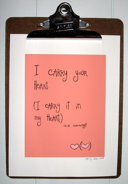 i carry your heart print - pink
