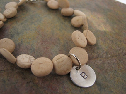 WOODEN BAMBOO CIRCLE BRACELET WITH INITIAL CHARM