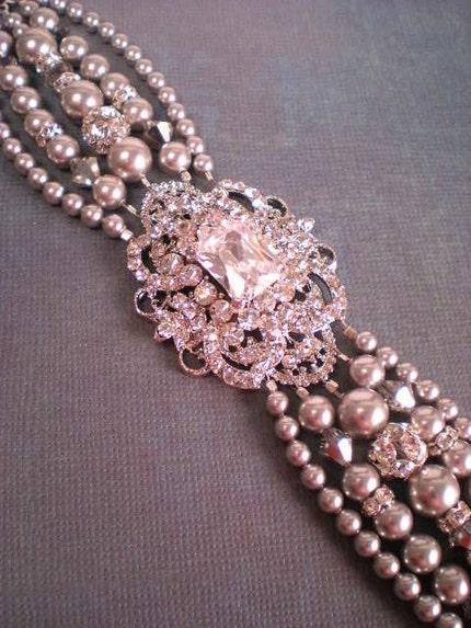 Rhinestone Bridal Brooch Bracelet