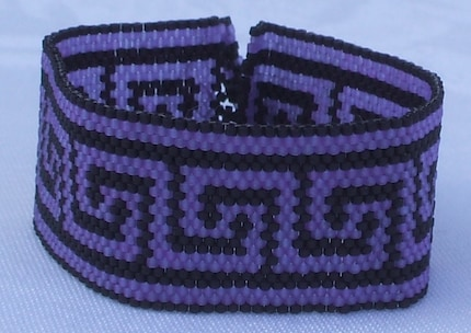 Greek Key Peyote Stitch Cuff Bracelet