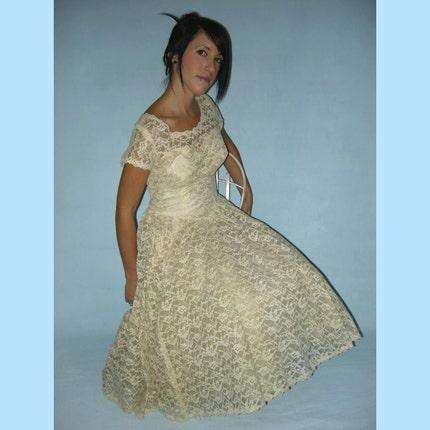 Etsy :: empressjade :: IVORY LACE 50s Wedding Dress and Borero Jacket S from etsy.com