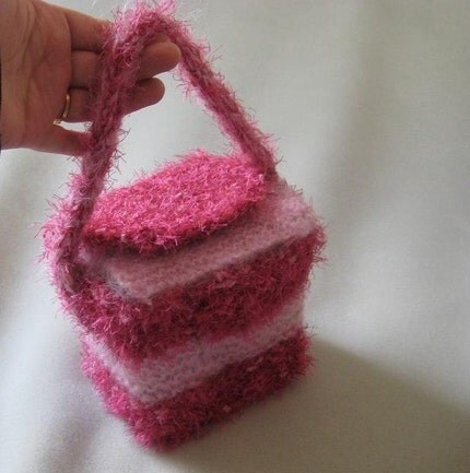 SALE-READY NOW-DESIGNER-HANDKNIT ART-CHINESE TAKE-OUT PURSE by Fiber Artist GERRY-one of a kind