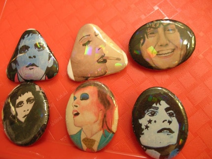 Glam Rock Button set  Bowie, Bolan, and Reed - Original artwork by S.Marie
