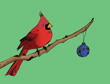Christmas Cardinal Greeting Card by mshoelace on Etsy
