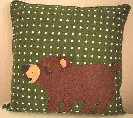 Ficus the Lil' Bear Cub Green Polka Dot Cotton Home Decorative Pillow