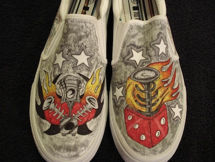 Old Skool Hot Rod Tattoo Inspired and Custom Designed Shoes
