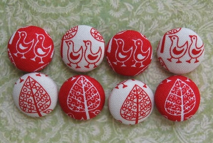 Fabric Covered Buttons        - Red and White Folk Print - Birds and Trees