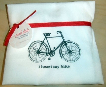Tea Towel with hand silk screened I Heart My Bike