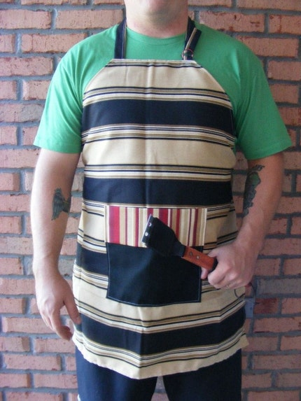 Black Tan and Red Striped Full Apron