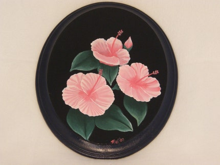 handpainted pink hibiscus on wood plaque