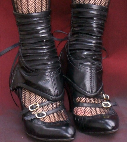 Black Crinkle Leather Spats by ashesandempires