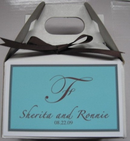 Personalized Tiffany wedding favor boxes set of 20