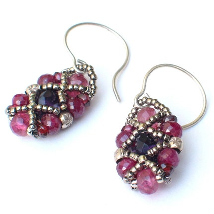 Almond Drops Earrings -- Berry Gems with Ruby Tourmaline Garnet Sterling Silver