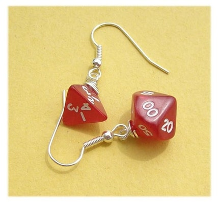 geekery, earring, earrings, wire, silver plated, pawandclawdesigns, d n d, rpg, game, mini, jewelry, dungeons dragons, die, red