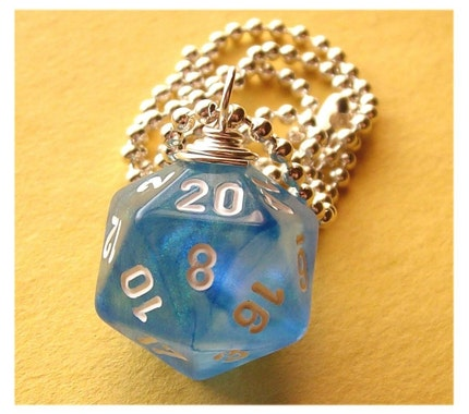 <br />geekery, dice, die, geek, game, dnd, jewelry, necklace, pendant, accessory, dungeons dragons, pawandclawdesigns, sci fi, blue glitter