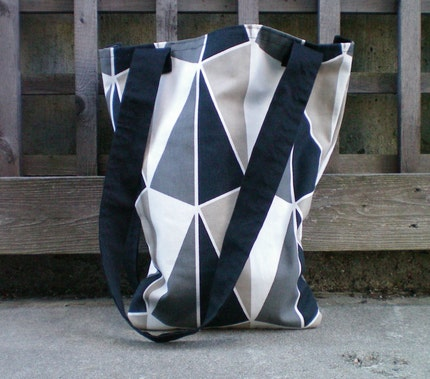 Chic Medium Size Mod Gray and Black Tote in Cotton Fabric