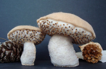 Sweet Baby and Momma Brown Bolete Mushrooms - Magical Forest Floor ... Limited Edition Plush Fabric Sculpture Set