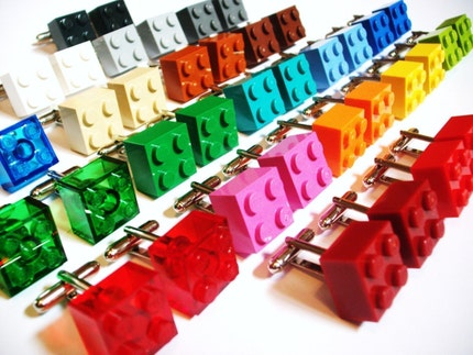 SALE -Choose any Color LEGO Brick Silver Cufflinks