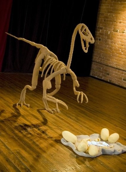 Custom Crocheted Raptor Skeleton