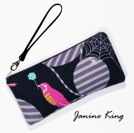 Lrg WRISTLET with 2 Pockets -- ETSUKO BIRD onyx -- versatile PADDED clutch purse protects your handheld electronics too by janin