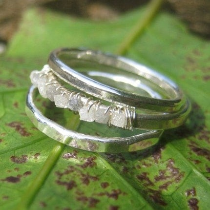 Etsy :: seababejewelry :: Rough Diamond and Fine Silver Ring Stack