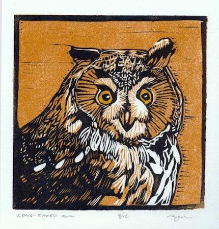 Long-eared Owl Linocut