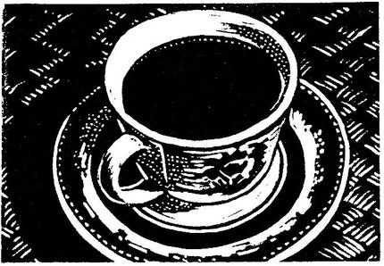 'Coffee Brewing Original Linocut ACEO' - flyingmonkeystudio on Etsy
