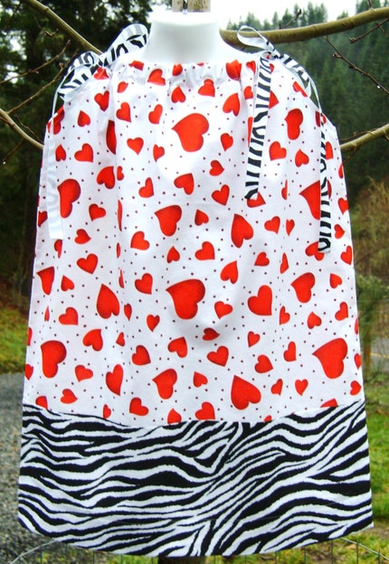 Floating Hearts and Zebra Stripes Valentines Day Girls Pillowcase Dress 12 mos 18 mos 2T 3T 4 5 6