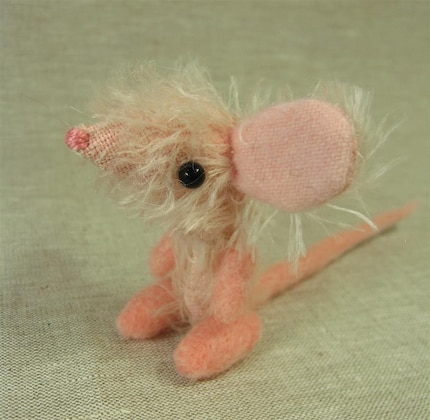 Moira the Tiny Pink Mohair Mouse