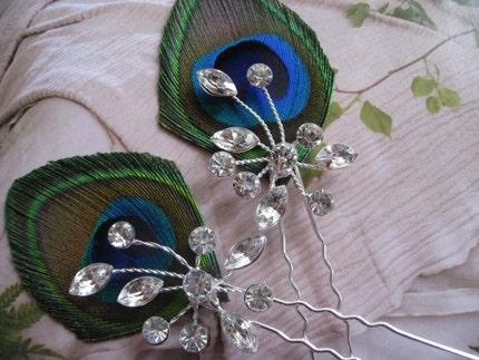 Etsy :: RoyalPrincess :: Peacock Hair Pin with crystals a design from Royal Princess
