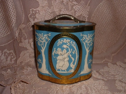 Vintage Greecian Ladies Shabby Tin Made in England Flea Market Style Decor English Tin