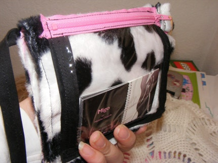 cow and pink hip bag