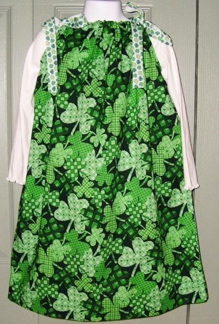 Plaid Shamrocks St Patricks Day Pillowcase Dress 12mos 18 mos 2T 3T 4 5 6