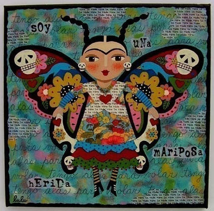 FRIDA Kahlo BUTTERFLY 8 x 8 PRINT of original folk art painting by LuLu
