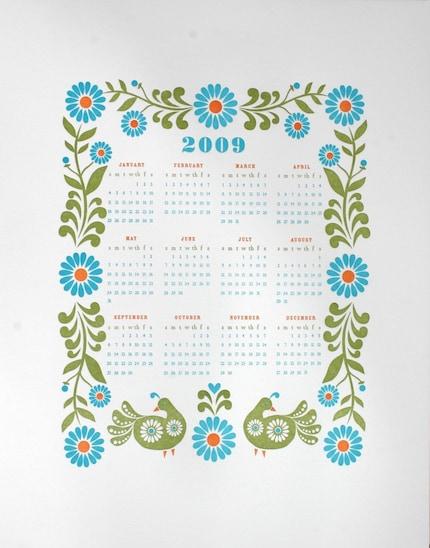 folky 2009 letterpress wall calendar