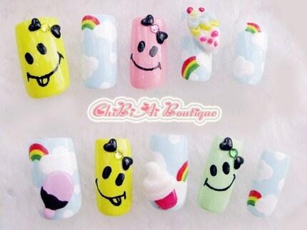 Happie Day Nail Art (P00661) uppsättning av 10 tips