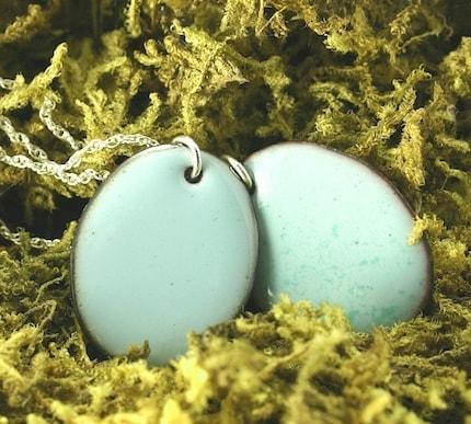 SALE --- Tiny Robin's Egg --- Handmade Enamel Necklace