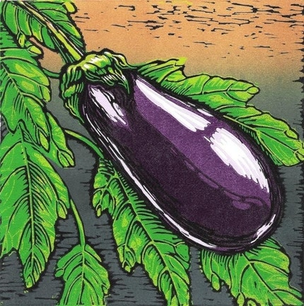 'Eggplant Original Reduction Linocut' - flyingmonkeystudio on Etsy