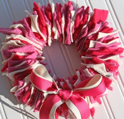 9 inch Valentine Wreath from RECYCLED FELTED WOOL